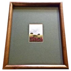 Nicola J Allison, Red Flowers in a Field Small Embroidery Stitchery on Silk Framed Picture