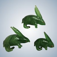 Vintage Bunny Rabbits Figurines Green Glass Handmade Animal with Red Eyes