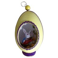 Goose Easter Egg Yellow Panoramic Diorama with Wooden Bunny Rabbit Playing a Guitar Dried Flowers Spring Scene