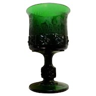Vintage Wright Glass, L G Daisy & Cube Etched Elk, Deer, Dog Emerald Dark Green Black Forest Germany Pressed Hunters Glass Water Goblet