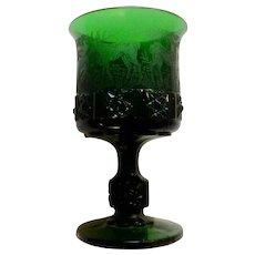 Goblet Glass German Black Forest Etched Elk Wright L G Daisy & Cube, Deer Dog Emerald Dark Green Germany Pressed Hunters Glass