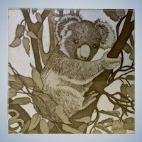 Nancy R Louvier (1946 - 2001), Koala Bear Etching Limited Edition Print Numbered and Signed by Artist