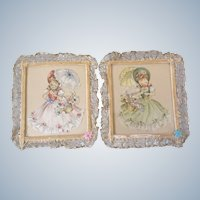 Folk Art Girl pictures with Lace, Sequins and Velvet Trim Vintage Shabby Chic Mid-Century