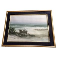 Sanan, Small Fishing Boat on the Beach Watercolor Painting Signed by Artist
