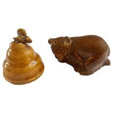 Bear Circling a Beehive Salt and Pepper Shakers Ceramic S & P Figurines