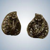 Vintage Clip Earrings Brass Colored Flowers