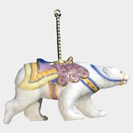 Lenox Carousel Polar Bear Christmas Tree Ornament Retired Porcelain 1989 Upgrade Tassel