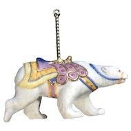 Lenox Carousel Polar Bear Christmas Tree Ornament Retired Porcelain 1989 Upgrade Tassel