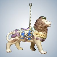 Lenox Carousel Lion King Christmas Tree Ornament Retired Porcelain 1989 Upgraded Tassel
