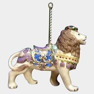 Lenox Carousel Lion King Christmas Tree Ornament Retired Porcelain 1989 Upgraded Tassel