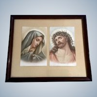 Mater Dolorosa and Ecce Homo Mary and Jesus Icon Chromolithograph Religious Holy Prayer Cards Germany 19th Century