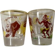 Vintage Rumpus Set Shot Glass Tribal Native Love Here's Looking At You And Monkey riding a Goat Hitting Bottoms Up