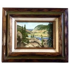 E. Angell, Lake in the Valley, Oil Painting on Canvas Board, Signed by Artist