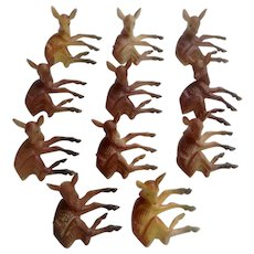 Mid-Century Cake Toppers Deer Fawns Plastic 11 Figurines Cupcake Picks