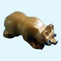 Germany Carved Wood Bear Animal Figurine Vintage Unique with Big Sad Glass Eyes