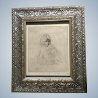 Bob Winland, Drypoint Etching Portrait De Ma Petite Fille Signed by Artist
