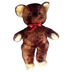 "Vintage Rushton Teddy Bear Face Stuffed Plush Animal Rushton Star Music Box Atlanta, Georgia Toy 21"""