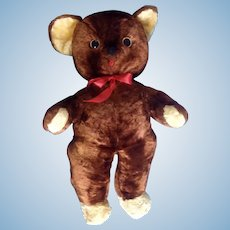 "Rushton Teddy Bear Face Stuffed Plush Animal Rushton Star Music Box Atlanta, Georgia Toy 21"""