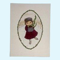 Joanne McGuire Battiste (1932 - 2009)  Ice Skating Girl Watercolor Painting
