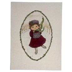 Joanne McGuire Battiste (1932 - 2009)  Little Ice Skating Girl Watercolor Painting By Pueblo Colorado Artist