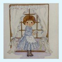 Joanne McGuire Battiste (1932 - 2009)  Little Girl Reading Watercolor Painting