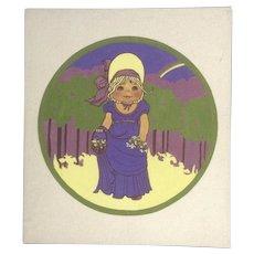 Joanne McGuire Battiste (1932 - 2009)  Little Girl Holding Flowers Bridesmaid Watercolor Casein Painting Signed By Pueblo Colorado Artist