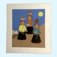 Joanne McGuire Battiste (1932 - 2009)  Indian Girls Watercolor Casein Painting