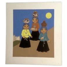 Joanne McGuire Battiste (1932 - 2009)  Little Indian Girls Holding Pots Watercolor Casein Painting Signed By Pueblo Colorado Artist