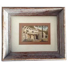 J. Smale, Adobe House Miniature Watercolor Painting Postage Stamp Size
