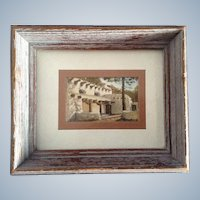 J. Smale, Watercolor Painting Miniature Postage Stamp Size Original Works on Paper Hacienda Estancia Adobe House Signed by Listed Southwestern Artist