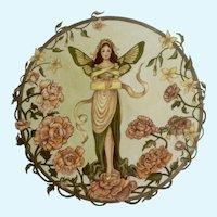 Joanne McGuire Battiste (1932 - 2009)  Butterfly Fairy Lady Watercolor Painting