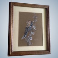 L. L. Braning, Sparrow on a Flowering Branch Pastel Drawing Signed by Colorado Artis