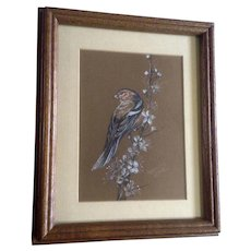L. L. Braning, Sparrow on a Flowering Branch Pastel Drawing