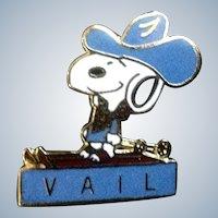 Vintage Snoopy Pin Peanuts Vail Colorado Enamel Cowboy Brooch