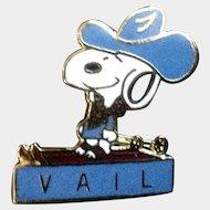 Vintage Snoopy Peanuts Vail Colorado Enamel Cowboy Pin Brooch
