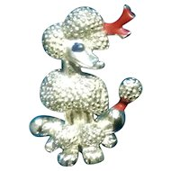 Vintage French Poodle Dog Pin Brooch Silver Tone Jewelry