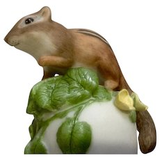 Vintage Franklin Mint, The Baby Chipmunk Bell 1983 Peter Barret Animal Porcelain Figurine With Certificate