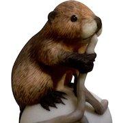 Vintage Franklin Mint, The Baby Beaver Bell 1983 Peter Barret Animal Porcelain Figurine With Certificate