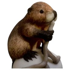 Vintage Franklin Mint, The Baby Beaver Bell 1983 Peter Barret Animal Porcelain Figurine With Certificate