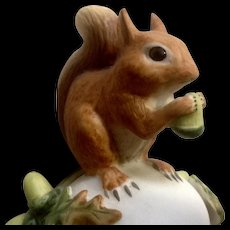 Vintage Franklin Mint, The Baby Red Squirrel Bell 1983 Peter Barret Animal Porcelain Figurine With Certificate