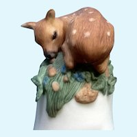 Franklin Mint Baby Deer Bell Peter Barret Fawn Porcelain Figurine COA