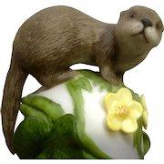Vintage Franklin Mint, The Baby Otter 1983 Peter Barret Animal Porcelain Figurine With Certificate