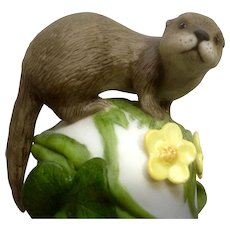Franklin Mint The Baby Otter 1983 Peter Barret Animal Porcelain Figurine With Certificate