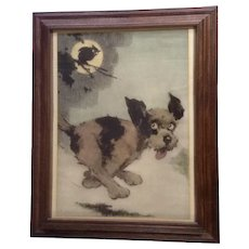 J. John Knowles Hare (1884 - 1947) Hooooo Said That? Puppy Dog and Owl Lithograph Print Poster By Brown & Bigelow