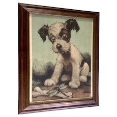 J. John Knowles Hare (1884 - 1947) A Bone To Pick, Puppy Dog Lithograph Print Poster By Brown & Bigelow