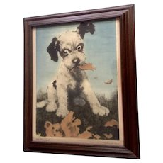 J. John Knowles Hare (1884 - 1947) I'll Show You, Puppy Dog Lithograph Print Poster By Brown & Bigelow