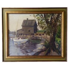 G Robins, Oil Painting Old Dock House at Waters Edge Signed by Artist
