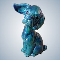 Dog Figurine Norleans Japan Adorable Vivid Green with Swirls of Blue Ceramic Beagle Puppy