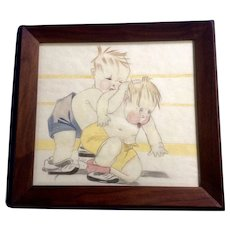 A. D. Shaw, The Wrestle, Kids Fighting in Ring Colored Pencil Drawing