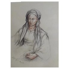 Conte Pencil Sketch of a Woman Works on Paper Initialed By Artist